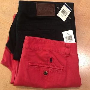 Lot of 2 Polo chino pants boys navy & red NWT 20